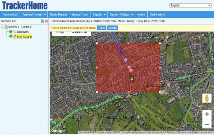Geofence car tracking feature